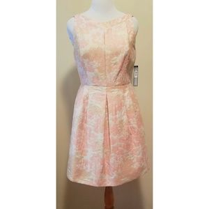 {Tahari} Petal Pink, White & Gold Dress